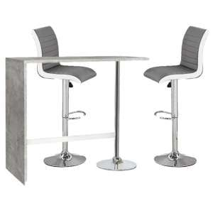 Tuscon Concrete Effect Bar Table 2 Ritz Grey And White Bar Stool