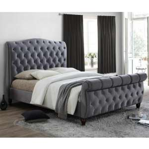 Tuxford King Size Bed In Grey Velvet With Dark Wood Feet