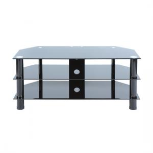 Universal 702 Black Glass Large TV Stand With Black Legs