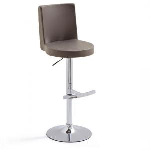 Twist Bar Stool Brown Faux Leather With Round Chrome Base