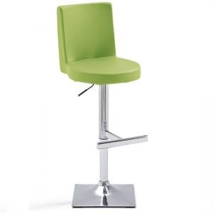 Twist Bar Stool Green Faux Leather With Square Chrome Base