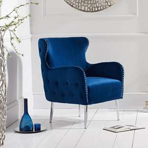 Tyrell Modern Accent Chair In Blue Velvet With Metal Legs