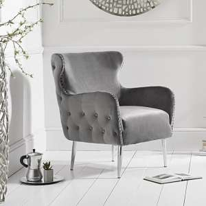 Tyrell Modern Accent Chair In Grey Velvet With Metal Legs