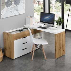 Uma Multifunctional Corner Computer Desk With Storage Oak White