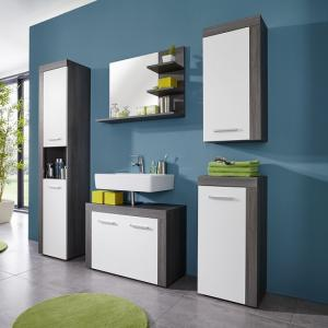 Urban Bathroom Furniture Set In Sardegna Smoke Silver And White