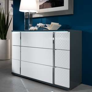 Urbino LED Chest Of Drawers In Gray And White With 3 Drawers