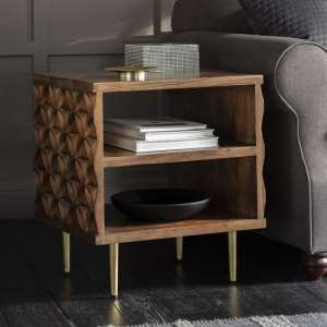 Urbino Side Table In Nutty Brown With Brushed Bass Legs