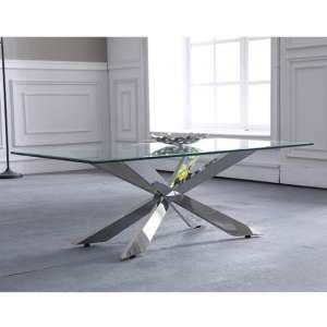 Urvin Clear Glass Coffee Table With Silver Stainless Steel Legs
