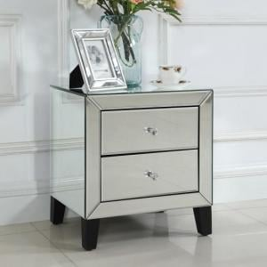 Valdina Mirrored Bedside Cabinet With 2 Drawers