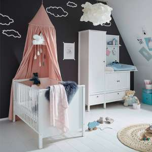 Valdo Baby Room Wooden Furniture Set In White