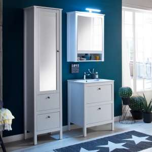 Valdo Wooden Bathroom Furniture Set 1 In White With LED