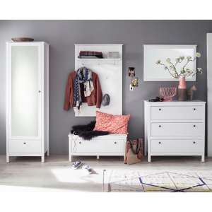 Valdo Wooden Hallway Furniture Set 3 In White