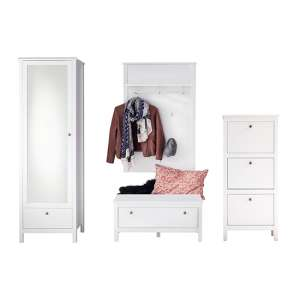 Valdo Wooden Hallway Furniture Set 9 In White