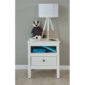 Valdo Wooden Kids Room Bedside Table In White