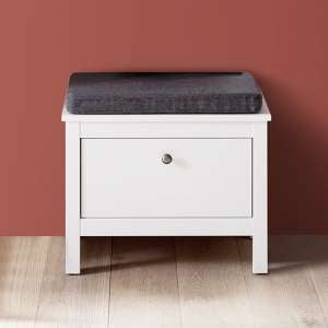 Valdo Wooden Seating Bench In White With 1 Drawer