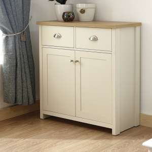 Valencia Wooden Compact Sideboard In Cream With 2 Doors
