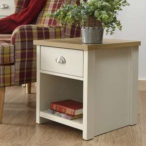 Valencia Wooden Lamp Table In Cream With 1 Drawer And Shelf