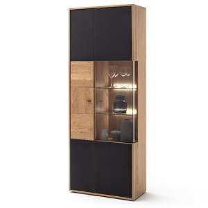 Valencia LED Large Wooden Display Cabinet In Oak And Anthracite
