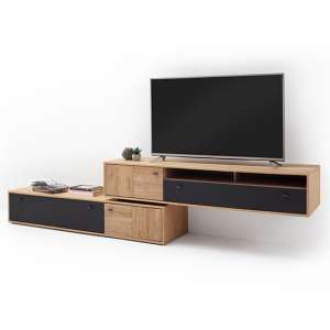 Valencia Large Wooden TV Stand In Bianco Oak And Anthracite