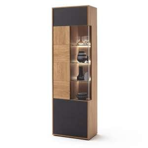 Valencia LED Wooden Display Cabinet In Bianco Oak And Anthracite
