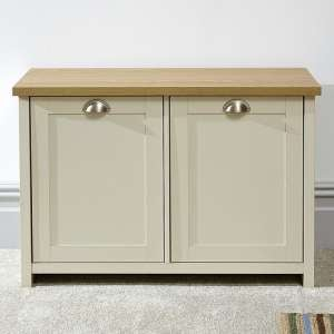 Valencia Wooden Shoe Cabinet In Cream And Oak With 2 Doors