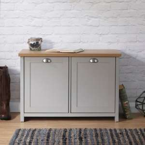 Valencia Wooden Shoe Cabinet In Grey And Oak With 2 Doors