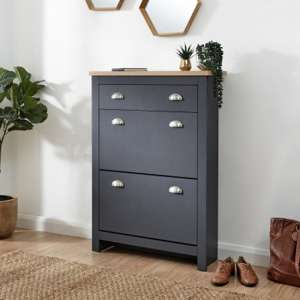 Valencia Shoe Storage Cabinet In Slate Blue And Oak
