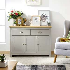Valencia Wooden Sideboard In Grey With 3 Doors And 2 Drawers