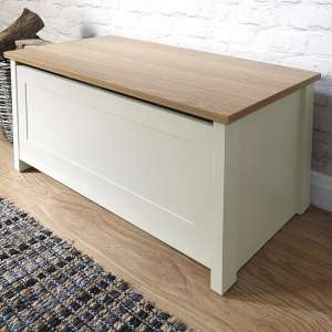 Valencia Storage Blanket Box In Cream With Oak Effect Top