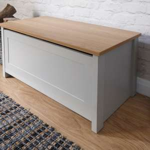 Valencia Storage Blanket Box In Grey With Oak Effect Top