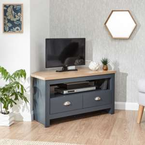 Valencia Wooden 2 Drawers Corner TV Stand In Slate Blue And Oak
