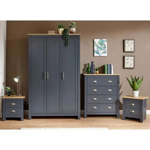 Valencia Wooden 4Pc Bedroom Furniture Set In Blue