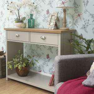 Valencia Wooden Console Table In Grey With 2 Drawers