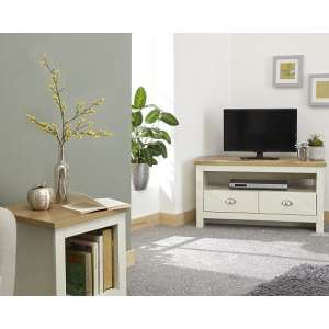 Valencia Wooden Corner TV Stand In Cream With 2 Drawers