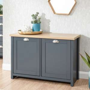Valencia Wooden Shoe Cabinet In Slate Blue And Oak With 2 Doors