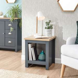 Valencia Wooden Side Table With Shelf In Slate Blue And Oak