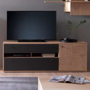 Valencia Wooden TV Stand In Bianco Oak And Anthracite