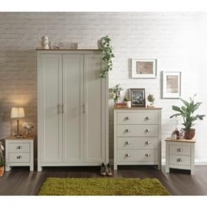 Valencia Wooden Bedroom Furniture Set In Cream With Oak Top