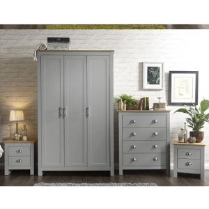 Valencia Wooden Bedroom Furniture Set In Grey With Oak Top_3