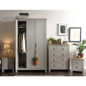 Valencia Wooden Bedroom Furniture Set In Grey With Oak Top_2