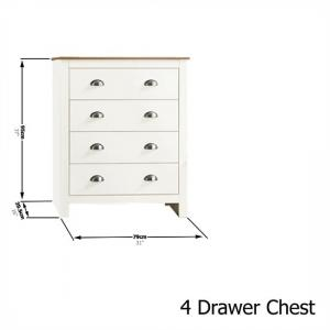 Valencia Wooden Bedroom Furniture Set In Cream With Oak Top_3