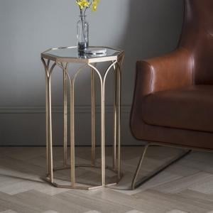 Valentina Mirrored Glass Side Table With Metal Frame