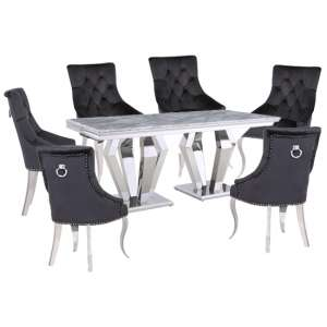 Valentino Grey Marble Dining Set With 6 Black Angelo Chairs