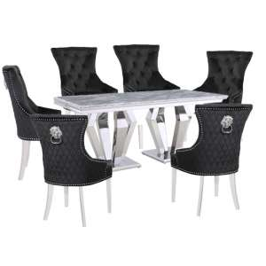 Valentino Grey Marble Dining Set With 6 Black Madison Chairs