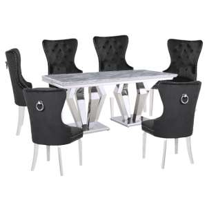 Valentino Grey Marble Dining Set With 6 Black Oxford Chairs