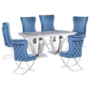 Valentino Grey Marble Dining Set With 6 Blue Cavalli Chairs