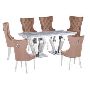 Valentino Grey Marble Dining Set With 6 Brown Oxford Chairs