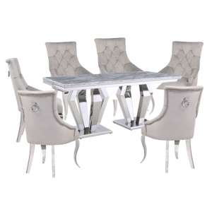 Valentino Grey Marble Dining Set With 6 Grey Angelo Chairs