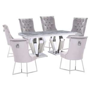 Valentino Grey Marble Dining Set With 6 Grey Bari Chairs