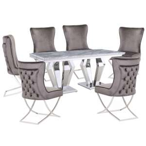 Valentino Grey Marble Dining Set With 6 Grey Cavalli Chairs
